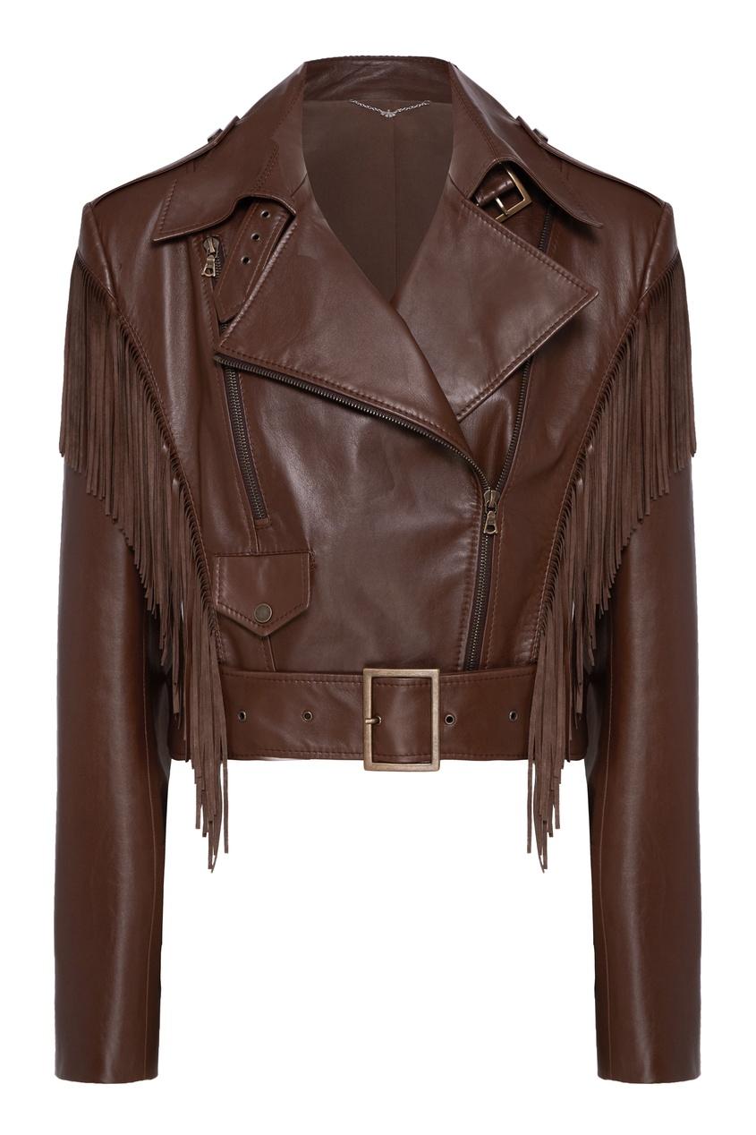 женская кожаные куртка yana dress, коричневая