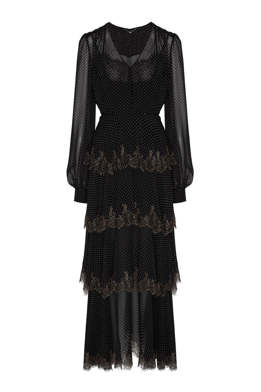 женское платье в горошек yana dress, черное