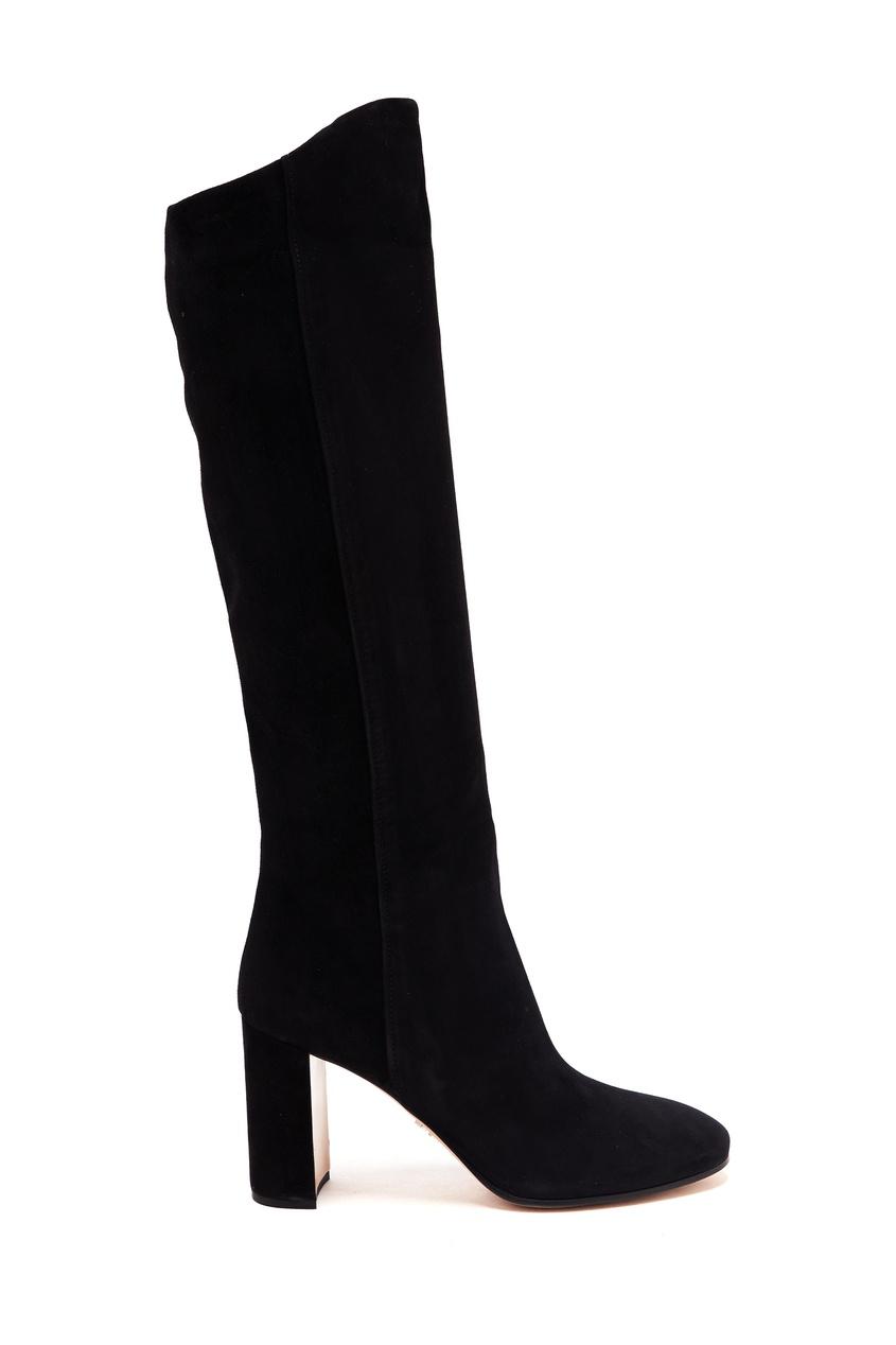 женские сапоги на каблуке prada, черные