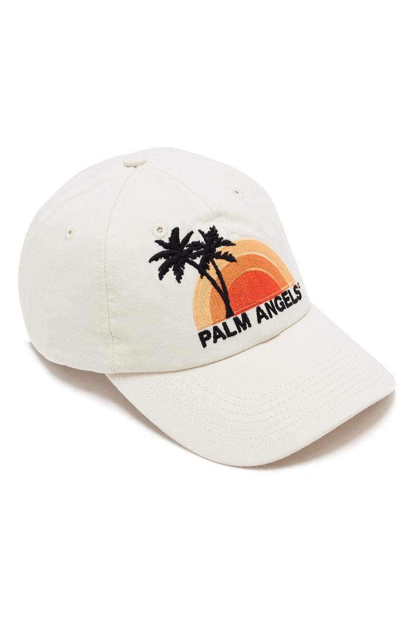 мужская бейсболка palm angels, бежевая