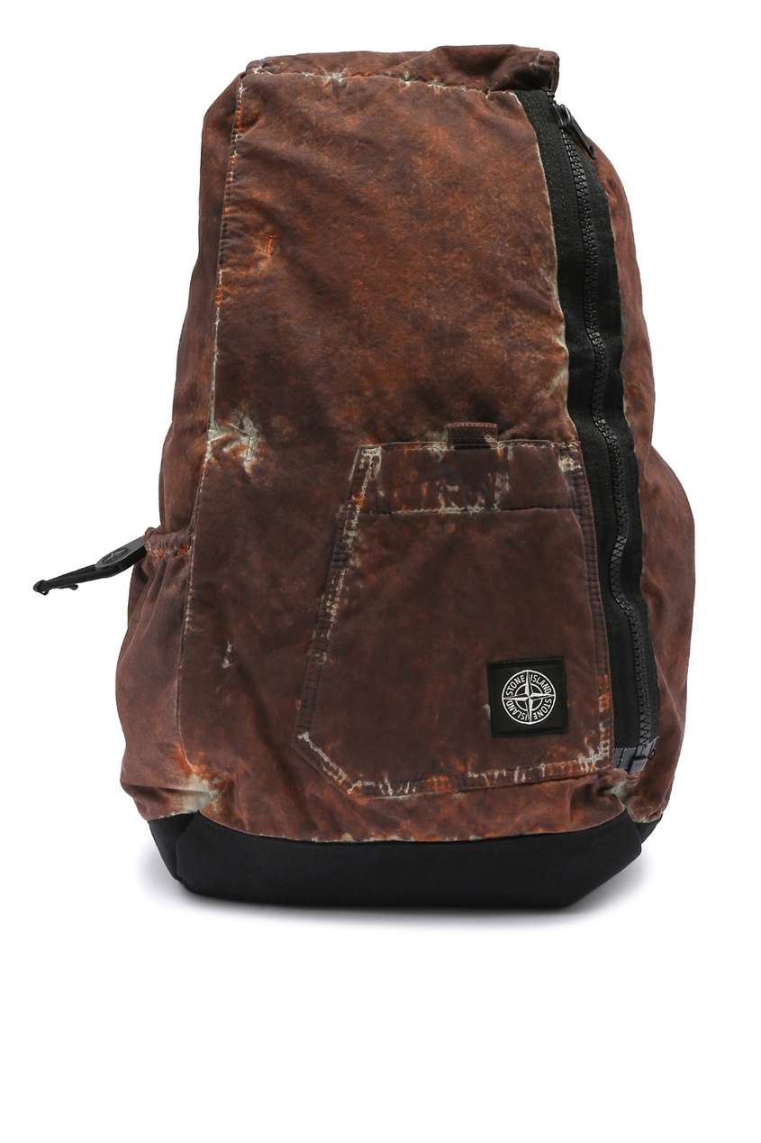 Коричневый рюкзак из хлопка и нейлона от Stone Island