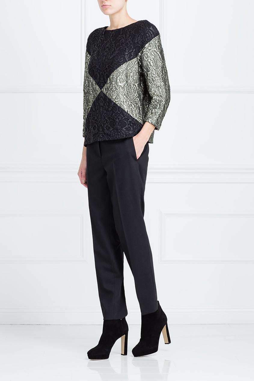 Фото 3 - Прямая блузка от Chapurin серого цвета