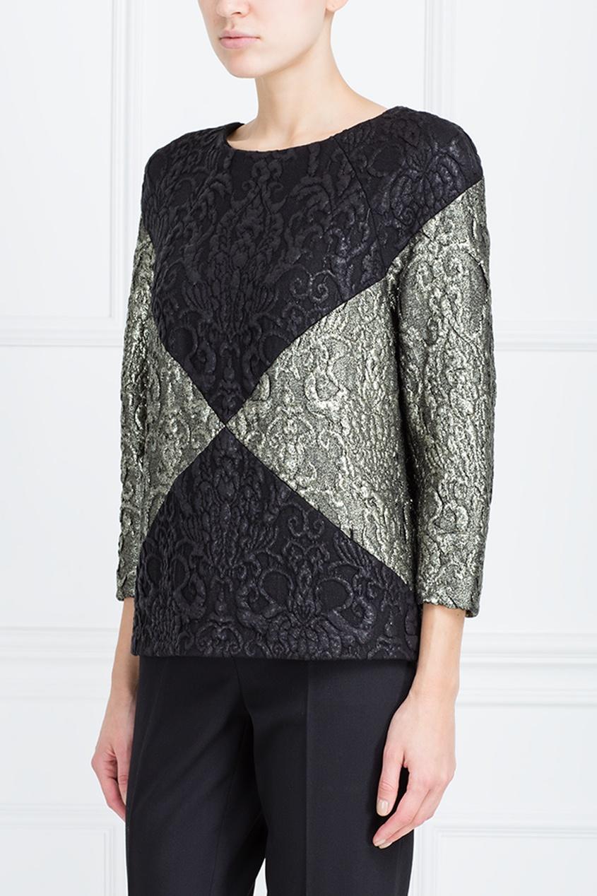 Фото 5 - Прямая блузка от Chapurin серого цвета