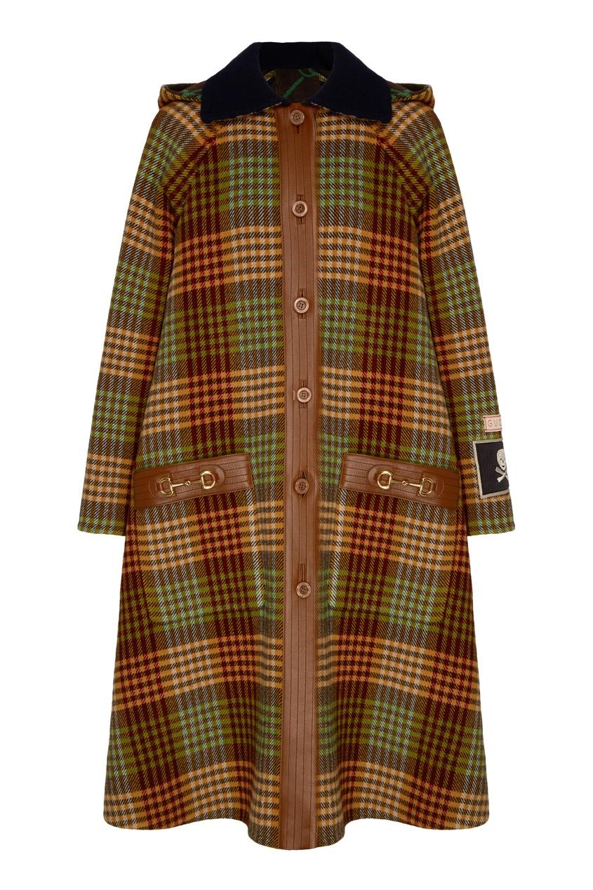Клетчатое пальто оверсайз с декором Horsebit