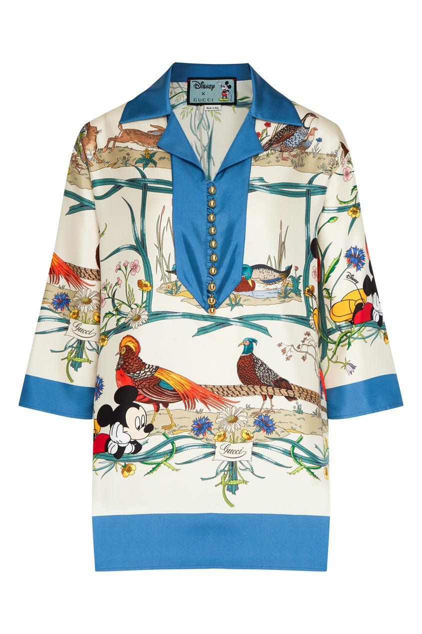 Свободная шелковая рубашка с принтом Disney x Gucci цвет ivory/blue printed