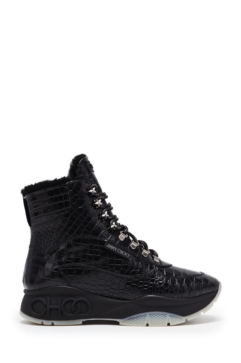 женские высокие кроссовки jimmy choo, черные