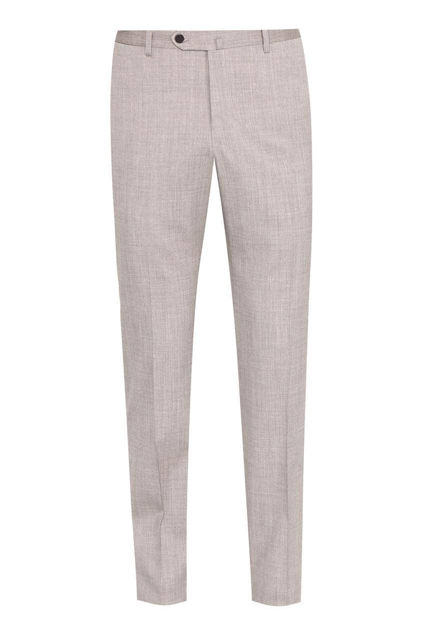 мужские шерстяные брюки isaia, коричневые