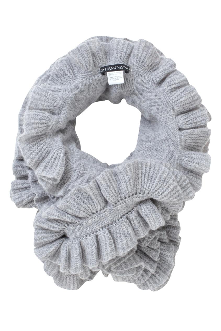 Фото - Кашемировый шарф от Katia Mossina серого цвета