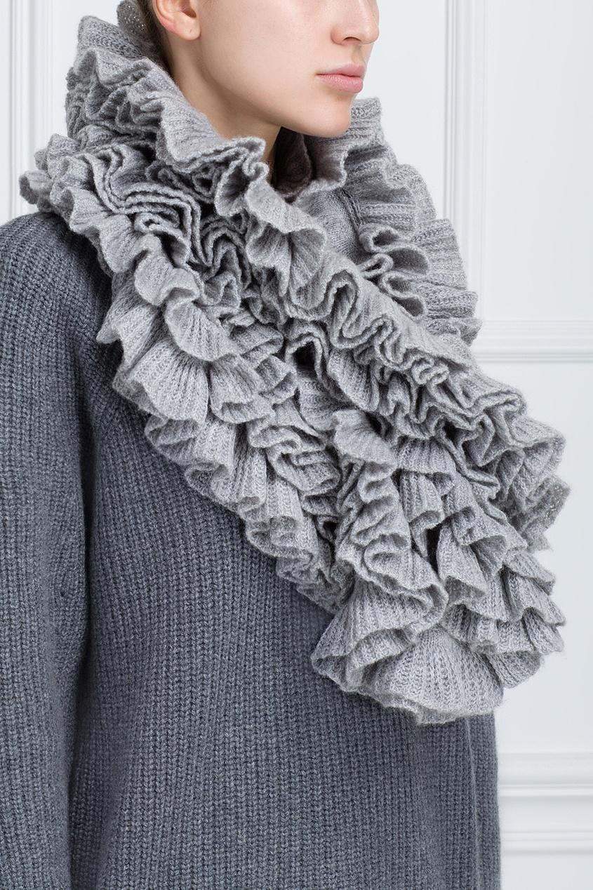 Фото 3 - Кашемировый шарф от Katia Mossina серого цвета