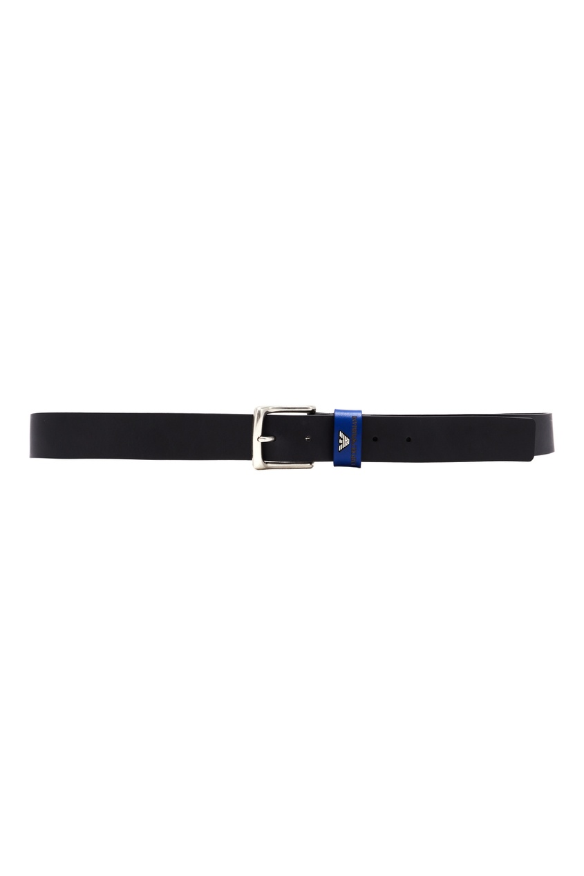 Черный ремень с синей шлевкой Emporio Armani