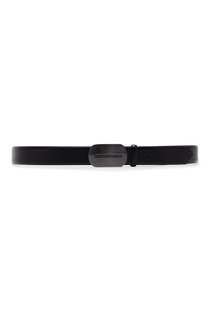 Черный кожаный ремень Emporio Armani