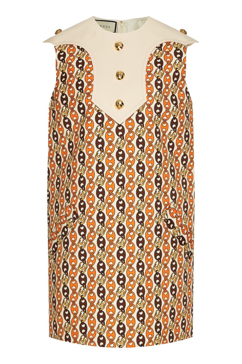 Платье мини с принтом и контрастным воротником