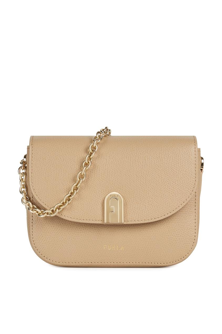 женская сумка-кроссбоди furla, бежевая