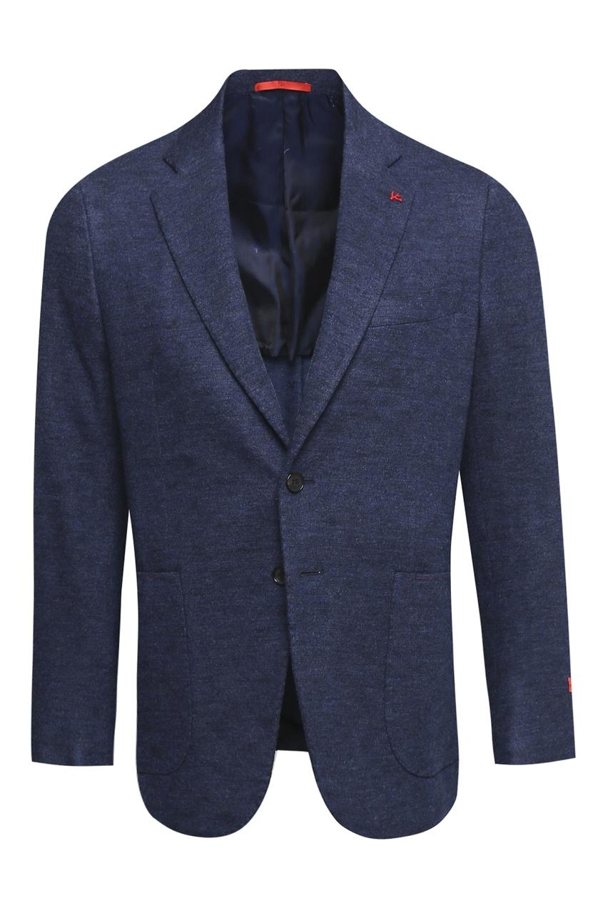 Синий однобортный пиджак из шерсти ISAIA