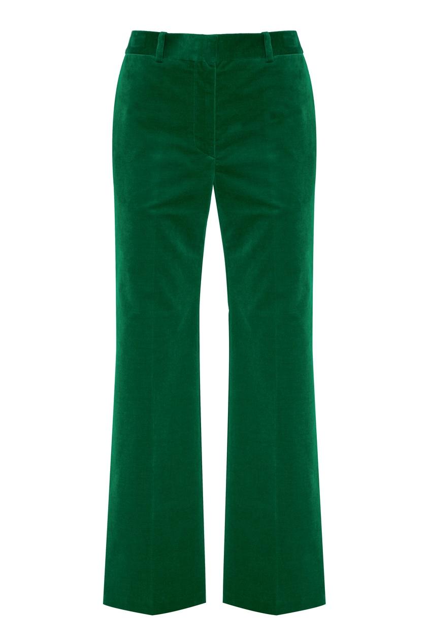 Зеленые бархатные брюки от Victoria Beckham