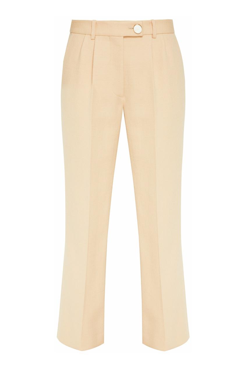 Бежевые брюки с высокой посадкой от Victoria Beckham