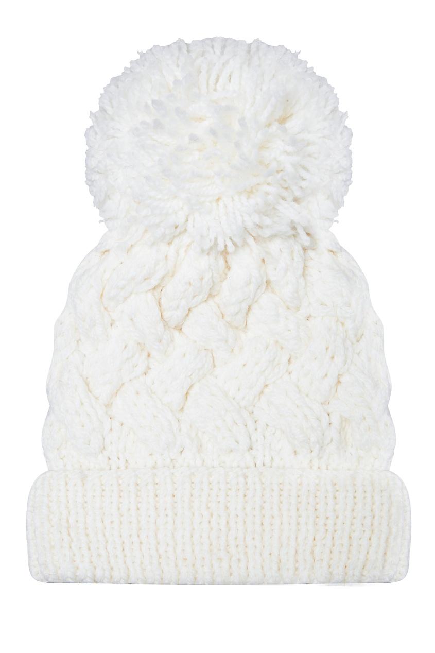 Белая шапка с узором и помпоном