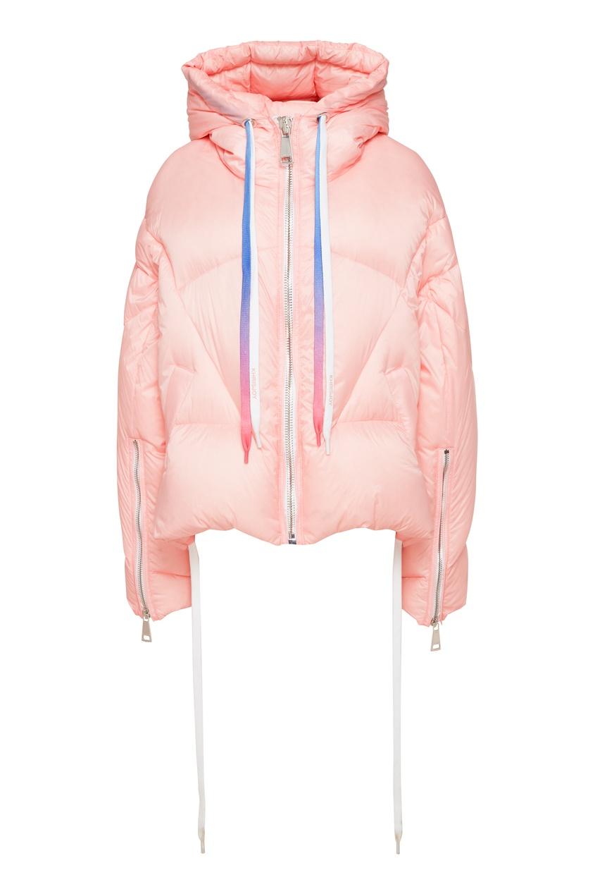 Розовая куртка-пуховик с капюшоном