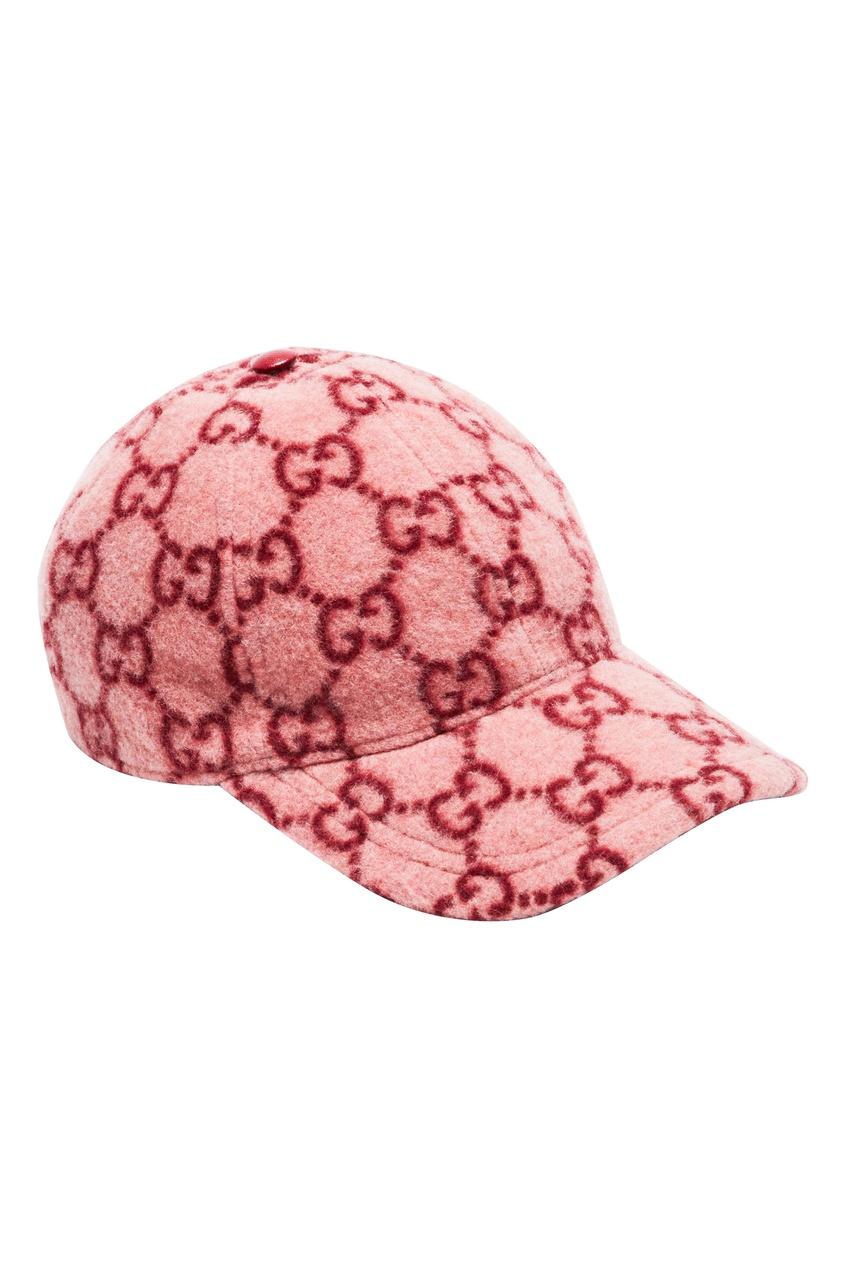 Розовая бейсболка с узором из монограмм от Gucci