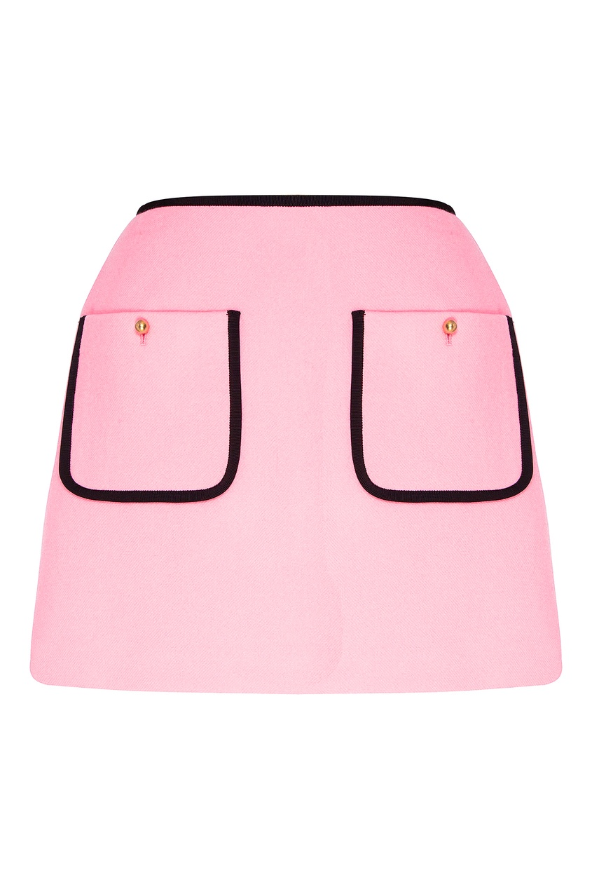 Розовая мини-юбка с контрастной отделкой от Miu Miu
