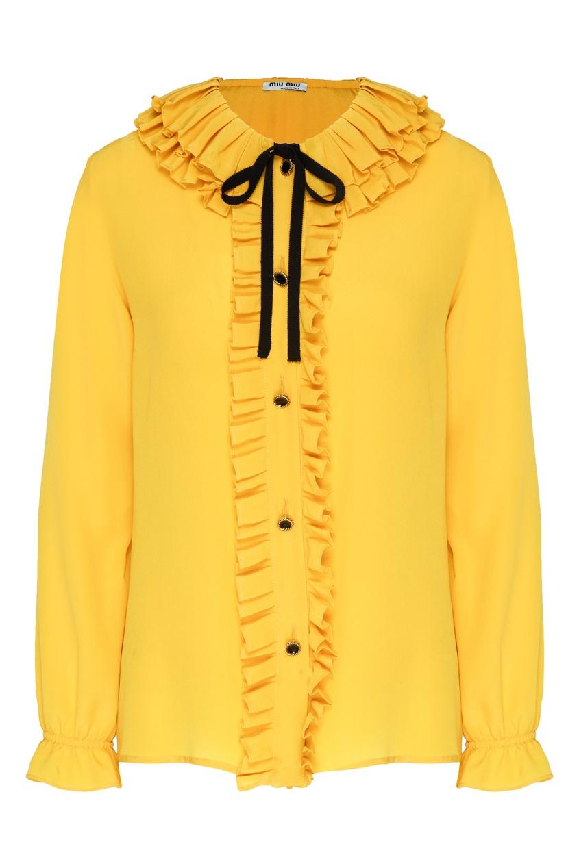 Желтая блуза с контрастной отделкой от Miu Miu