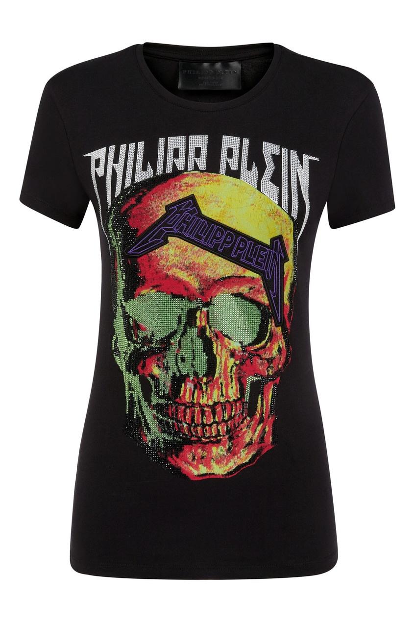 женская футболка philipp plein, черная