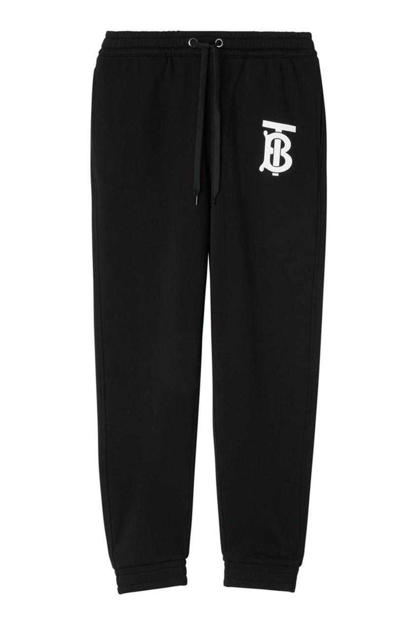 Спортивные брюки с монограммой Burberry черного цвета