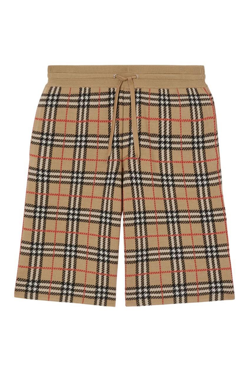 мужские шорты в клетку burberry, бежевые