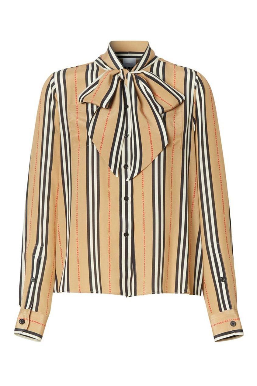 Бежевая блуза в полоску Burberry бежевого цвета