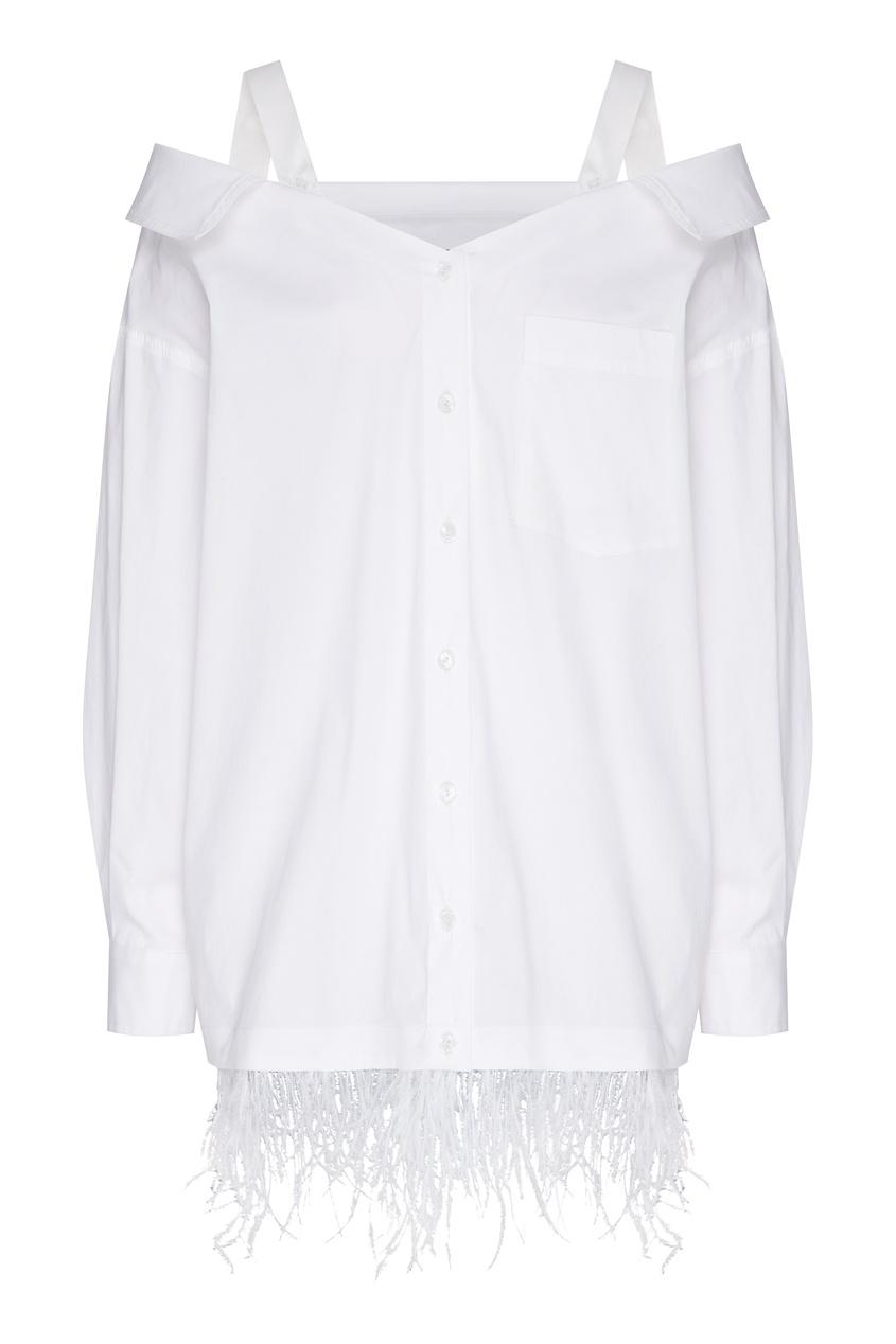 женская блузка с открытыми плечами ли-лу, белая
