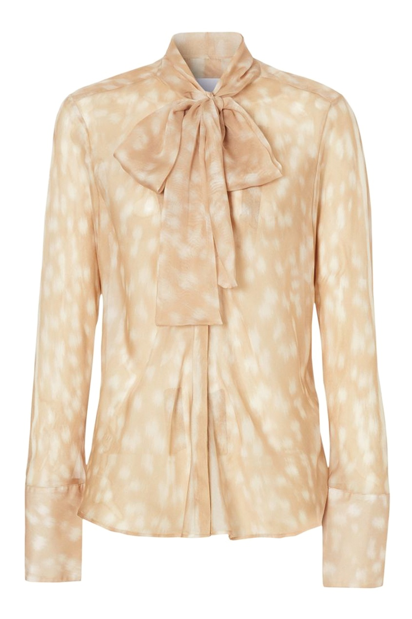 женская шелковые блузка burberry, бежевая