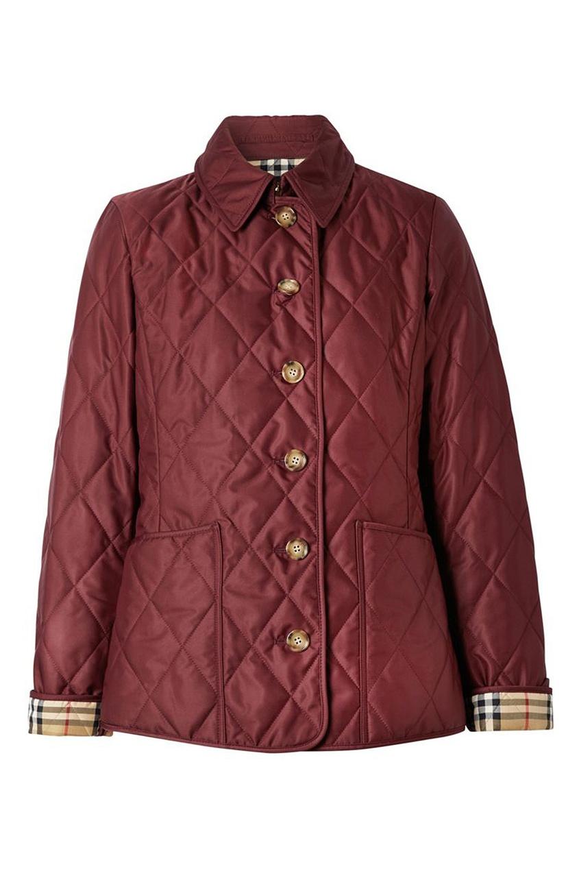 Бордовая куртка с накладными карманами