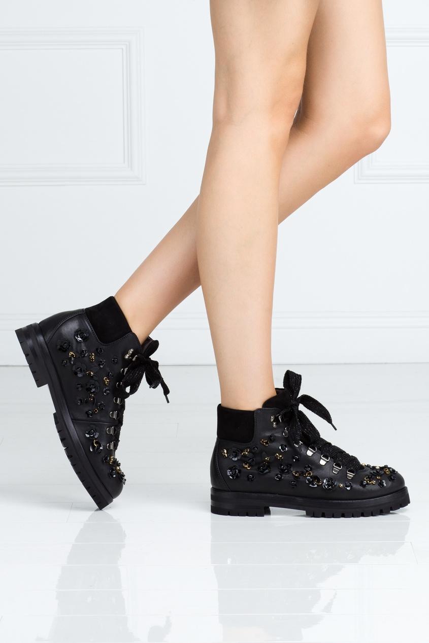 Кожаные ботинки с кристаллами