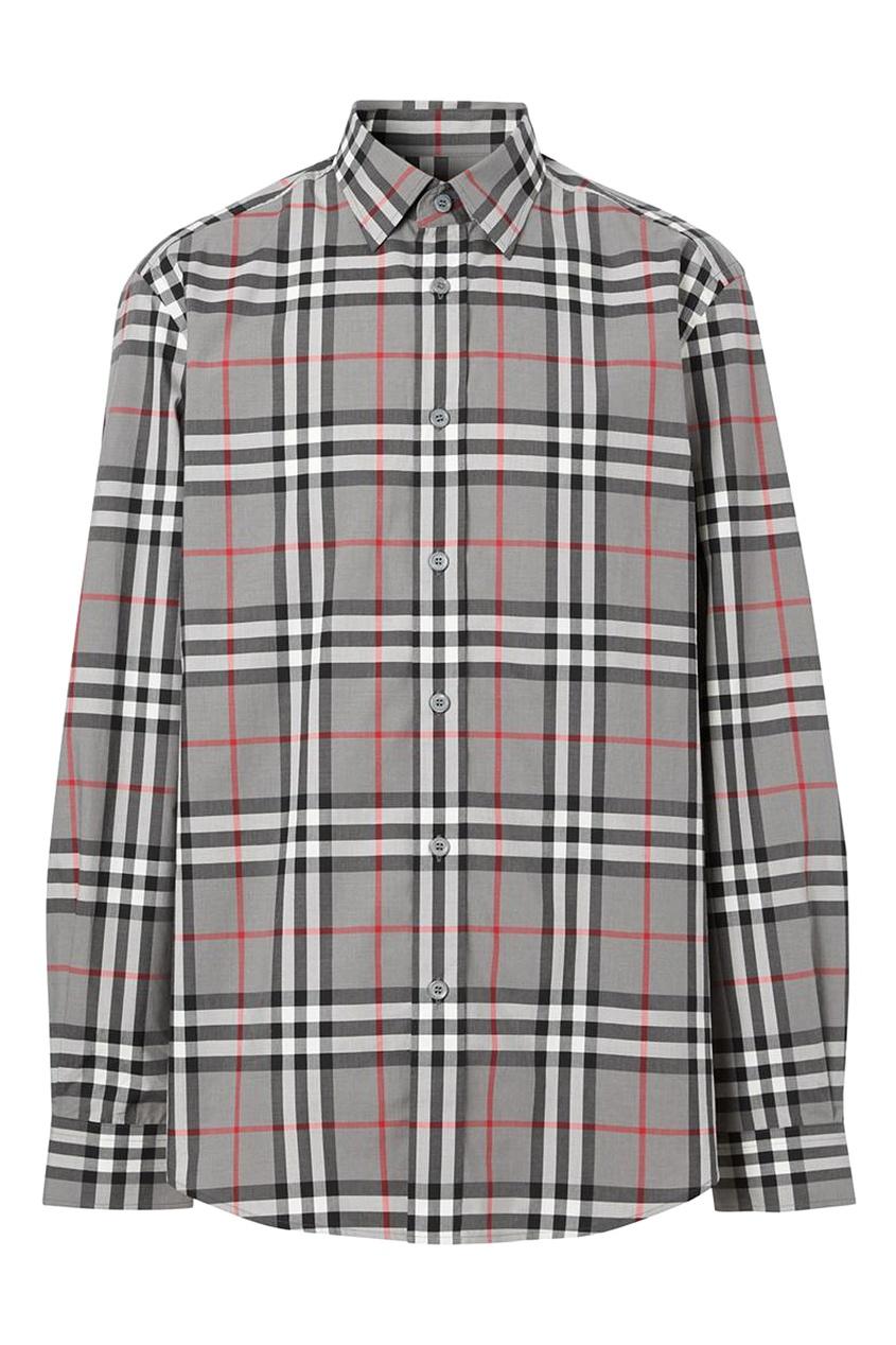 мужская рубашка в клетку burberry, серая