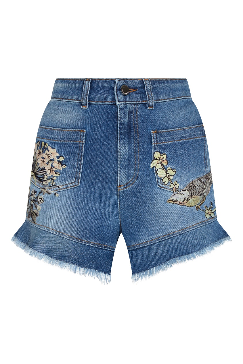 женские джинсовые шорты red valentino, синие