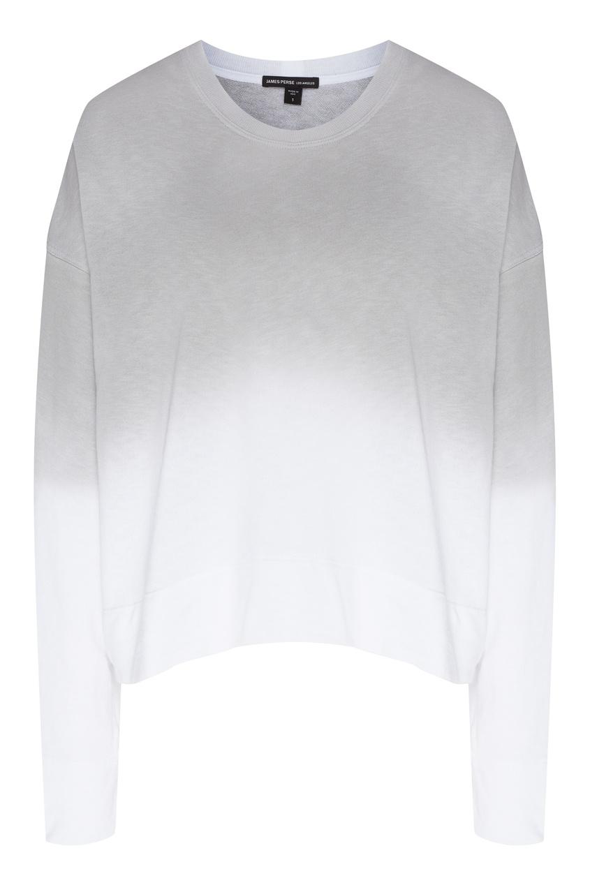 Серо-белый свитшот из хлопка