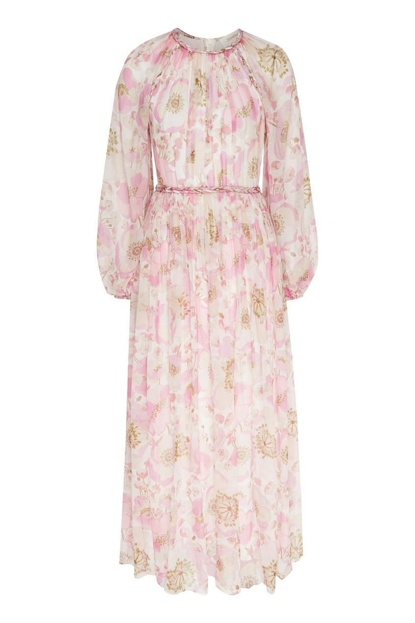 женское шелковые платье zimmermann, розовое