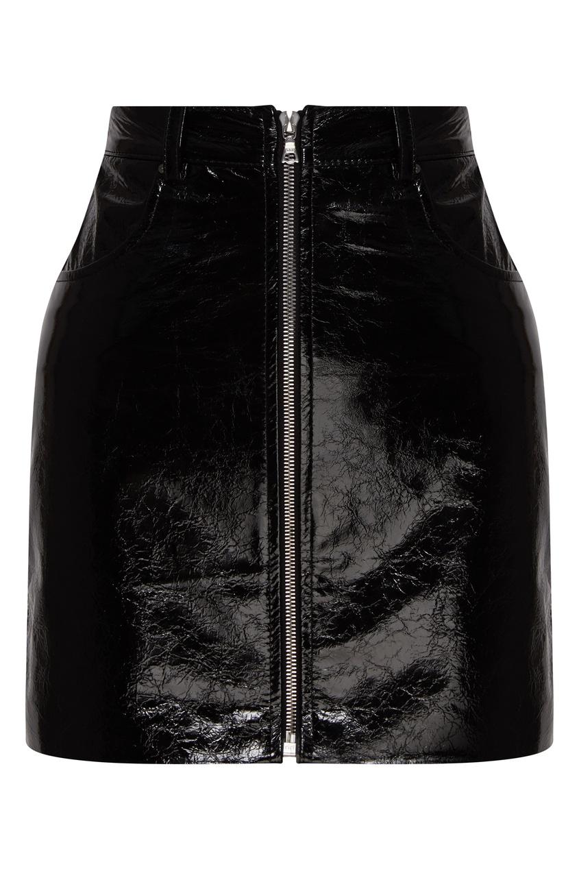 женская кожаные юбка yana dress, черная