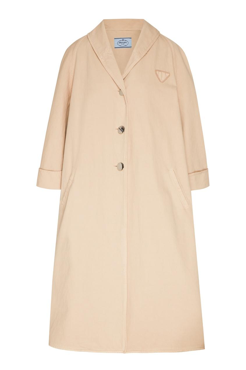 женское пальто prada, бежевое