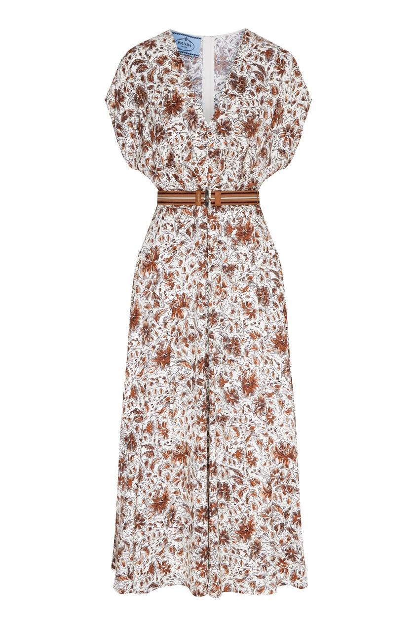 женское платье prada, коричневое