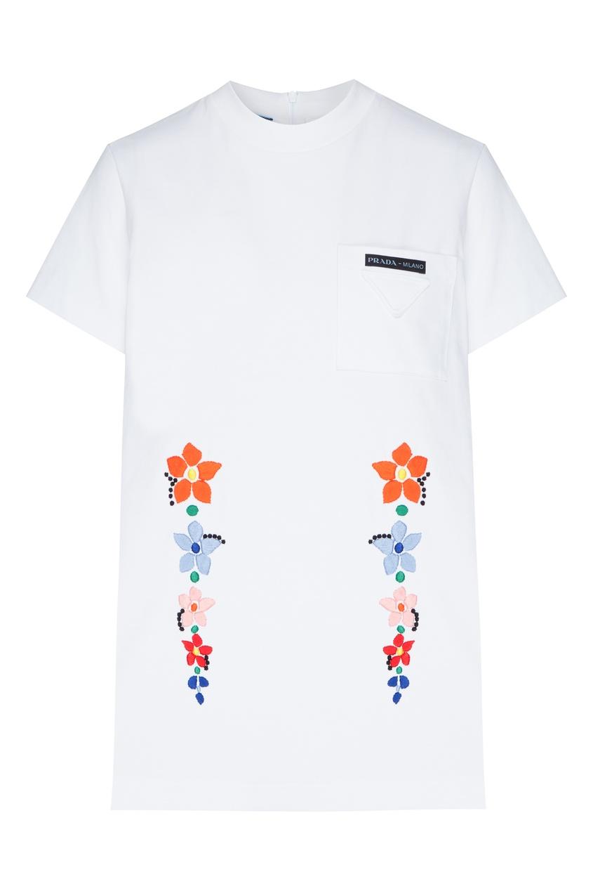 женская футболка prada, белая