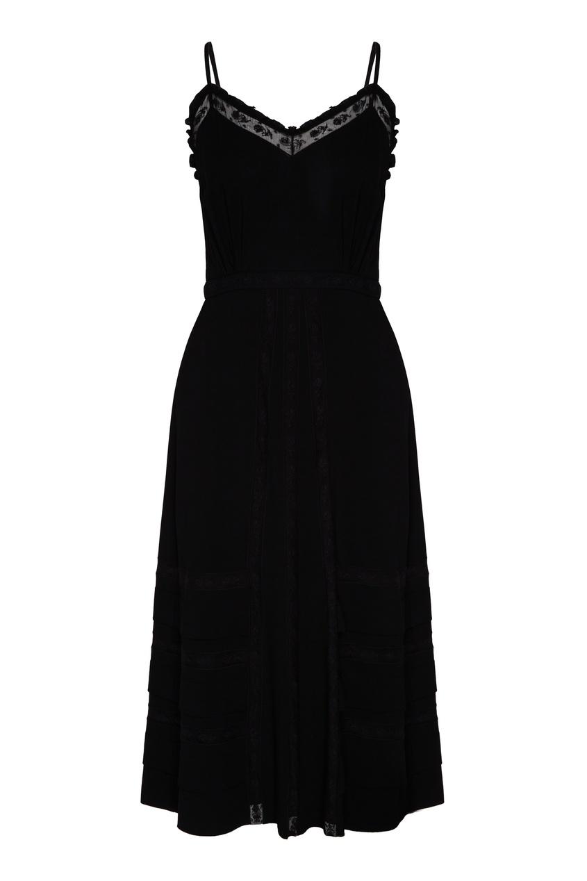 женское платье на бретелях prada, черное