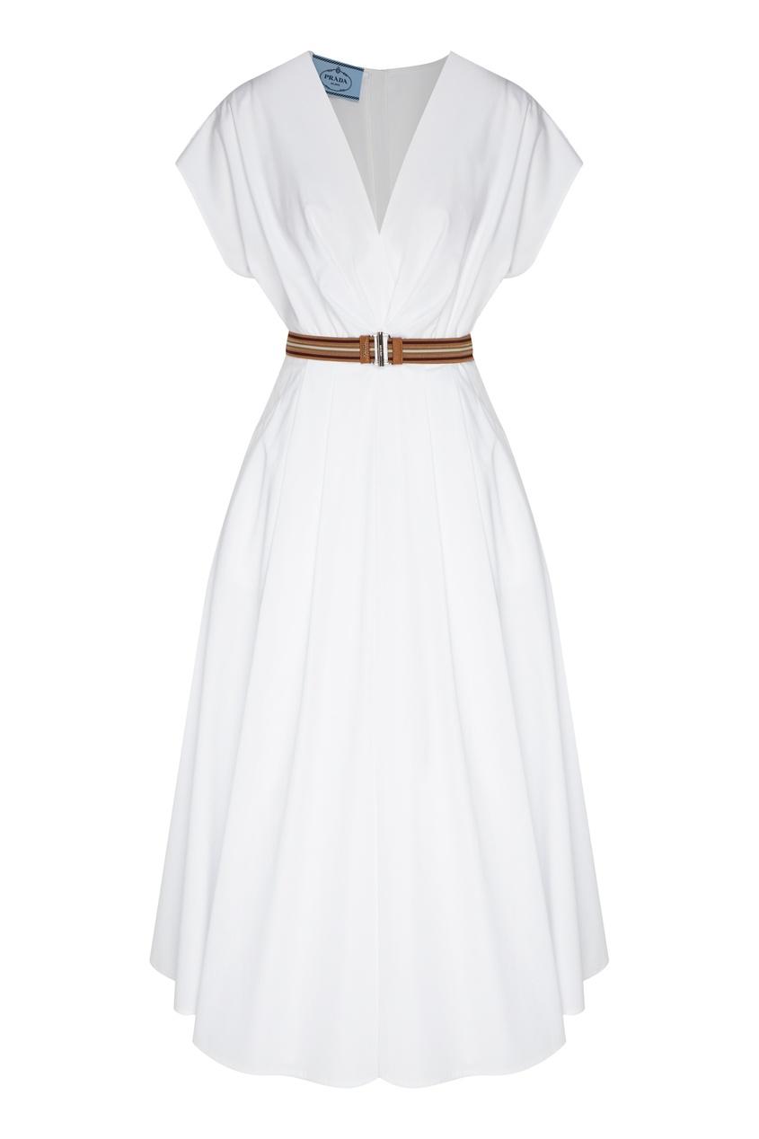 женское платье миди prada, белое