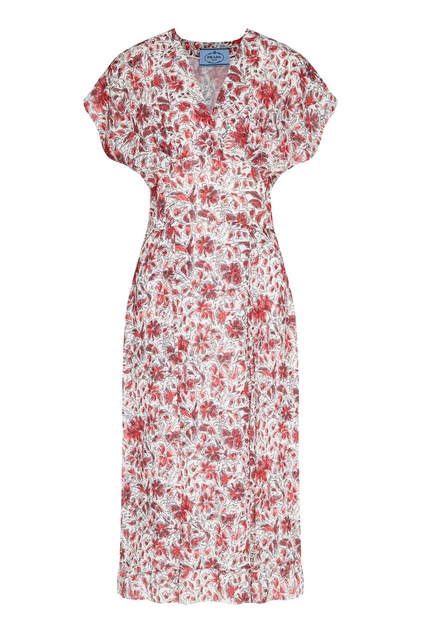 женское платье prada, красное