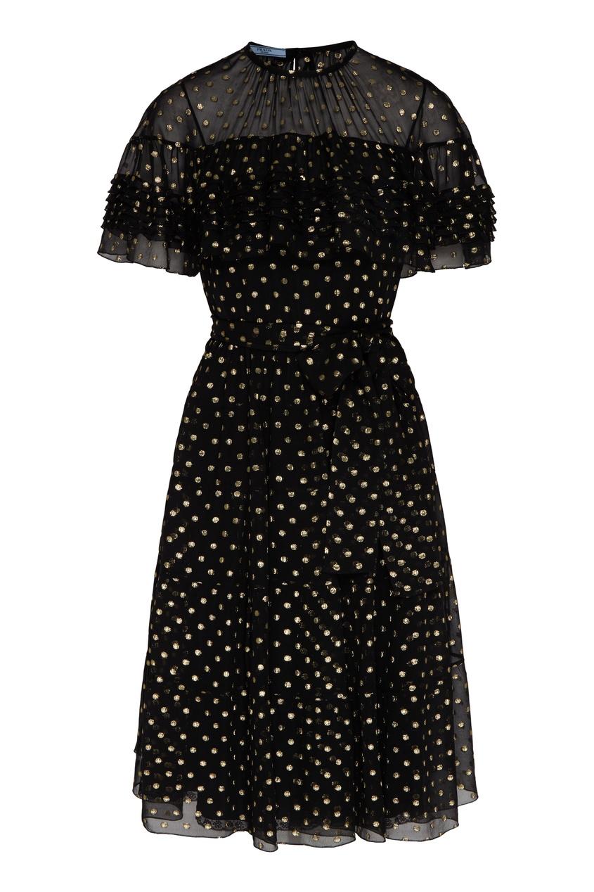 женское платье в горошек prada, черное
