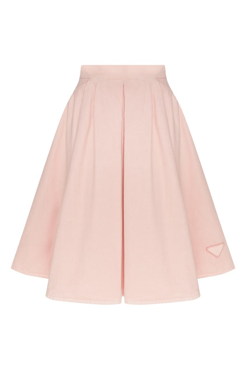женская джинсовые юбка prada, розовая