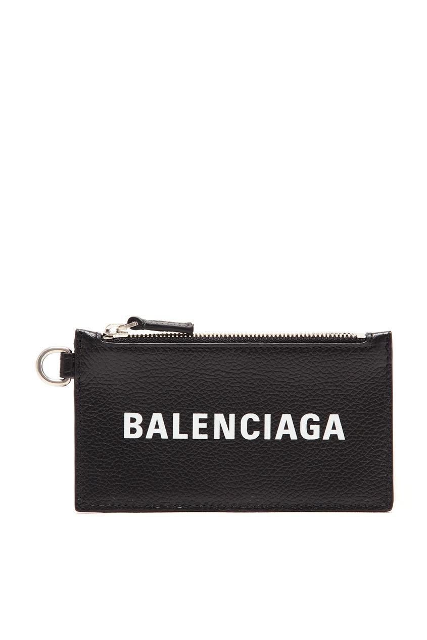 Черная кредитница из кожи от Balenciaga