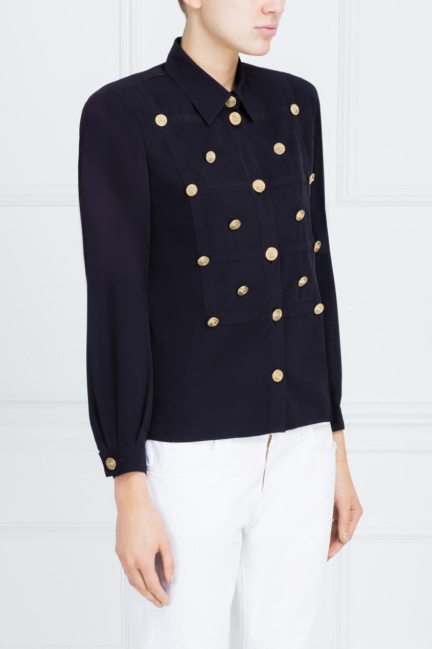 Фото 4 - Однотонная блузка от Louis Feraud Vintage черного цвета