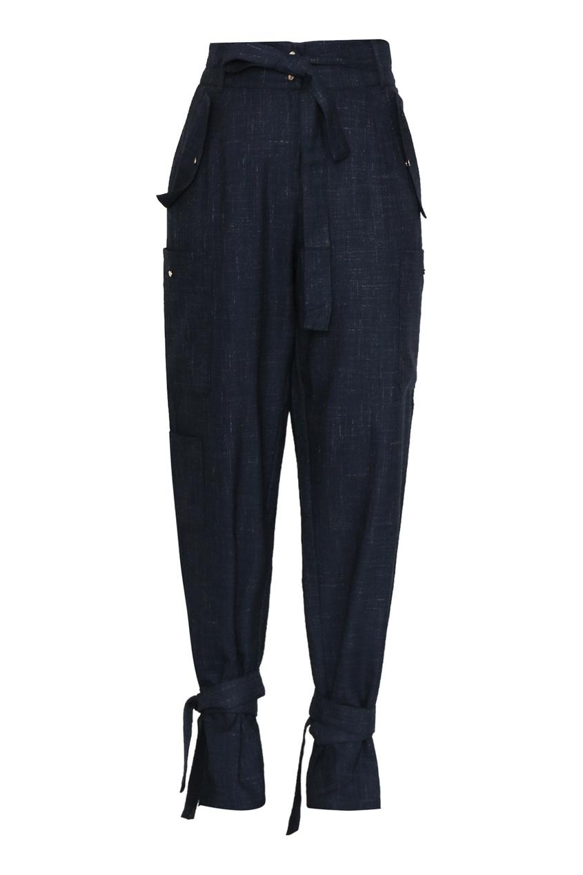 женские брюки с высокой посадкой marina rinaldi, синие