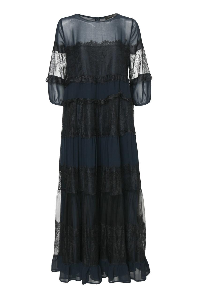 женское платье макси marina rinaldi, синее